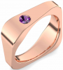 Eckiger Ring Rotgold Ring Amethyst 750 + inkl. Luxusetui + PORTOFREI Amethyst Ring Rotgold Amethystring Rotgold (Rotgold 750) - Edged Amoonic Schmuck