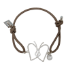 Perilicious Butterfly Leder-Armband in taupe mit Sterling Silber Anhänger