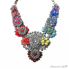Blüten Statement Collier Strass Multicolour Gold im Organza Beutel