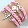 Armband Libelle & Infinity mit Perle rosa im Organza Beutel