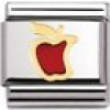 Nomination Classic - FRUITS Edelstahl, Email und 18K-Gold (Apfel ROT)