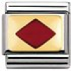 Nomination Classic - GEOMETRIC Edelstahl, Email und 18K-Gold (Raute ROT)