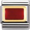 Nomination Classic - GEOMETRIC Edelstahl, Email und 18K-Gold (Rechteck ROT)