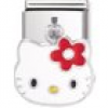 Nomination Classic - HELLO KITTY Edelstahl, Email und Silber 925 (rote Blume)