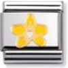 Nomination Classic - NATURE Edelstahl, Email und 18K-Gold (Orchidee GELB/WEISS)
